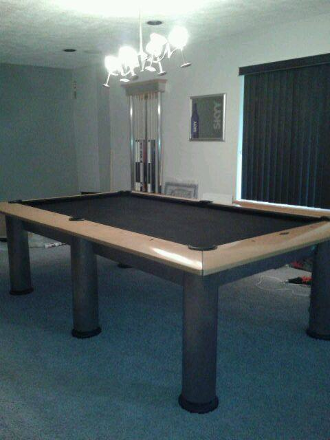 Black Felt Billiard Table