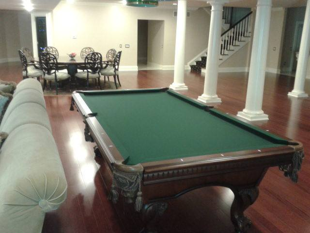 Green Felt Billiard Table