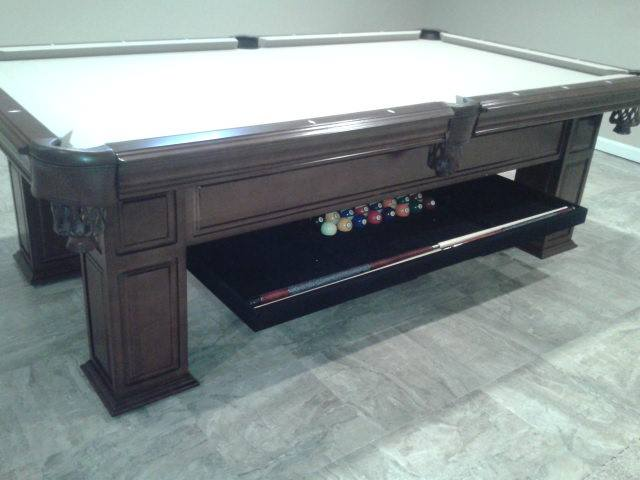 Beige Felt Billiard Table